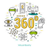 Virtual Reality 360 - Line Art Concept. Vector round concept of Virtual Reality 360 degree overview entertainment. Innovations technology in thin line style Royalty Free Stock Images