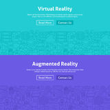 Virtual Reality Line Art Web Banners Set Stock Images