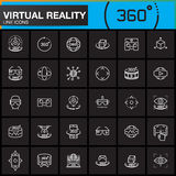Virtual reality line icons set. Innovation technologies, AR glasses, Head-mounted display, VR gaming device. Modern flat line desi Stock Photo