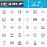 Virtual reality line icons set. Innovation technologies, AR glasses, Head-mounted display, VR gaming device. Modern flat line desi. Gn vector collection. Outline Royalty Free Stock Photo