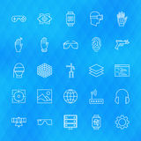 Virtual Reality Line Icons Set over Polygonal Background Royalty Free Stock Image