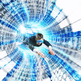 Virtual reality. Man with mask in a futuristic tunnel stock photos