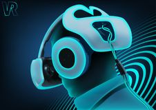 Virtual Reality with Man Wearing Headset Royalty Free Stock Photography