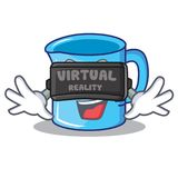 With virtual reality measuring cup character cartoon. Vector illustartion Royalty Free Stock Images