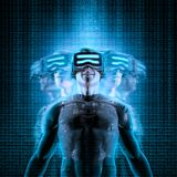 Virtual reality multitasking. 3D illustration of male figure in virtual gear among glitchy duplicates of himself Royalty Free Stock Image