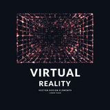 Virtual reality and new technologies for games. Room with perspective grid. Stock Photography