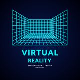 Virtual reality and new technologies for games. Room with perspective grid. Vector illustration Stock Image