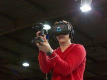Virtual reality Nomi Vive game, Kiev Plug-in Ukraine 2017 Exhibition. royalty free stock image