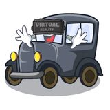 Virtual reality old cartoon car in side garage royalty free illustration
