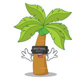 With virtual reality palm tree character cartoon Royalty Free Stock Image