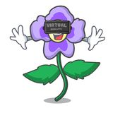 Virtual reality pansy flower mascot cartoon. Vector illustration vector illustration