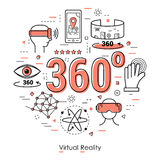 Virtual Reality 360 - Red Line Art Concept. Vector red round concept of Virtual Reality 360 degree overview entertainment. Innovations technology in thin line Royalty Free Stock Photo