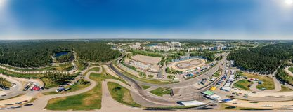 Bikirnieki Racing track in Riga city an Block of flats 360 VR Drone picture for Virtual reality, Street Panorama. Virtual reality, Riga street and Bikirnieki royalty free stock image