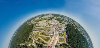 Bikirnieki Racing track in Riga city an Block of flats 360 VR Drone picture for Virtual reality, Street Panorama. Virtual reality, Riga street and Bikirnieki stock image