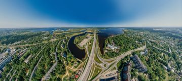 Summer Lake and roads in Riga city and Latvia nature 360 VR Drone picture for Virtual reality, Panorama royalty free stock photos