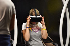 Virtual reality Samsung Gear VR headset and hand controls Stock Image