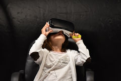 Virtual reality Samsung Gear VR headset and hand controls Royalty Free Stock Photo