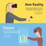 Virtual reality set. cartoon style. vector illustration Royalty Free Stock Photography