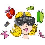 Virtual Reality Shopping Girl Royalty Free Stock Photography