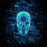 Virtual reality skull. 3D render of cyborg head surrounded by virtual data Royalty Free Stock Photos