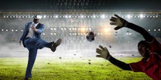 Virtual Reality Soccer Players on stadium stock photo