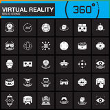 Virtual reality solid icons set. Innovation technologies, AR glasses, Head-mounted display, VR gaming device. Modern flat design v. Ector collection. logo Royalty Free Stock Photo