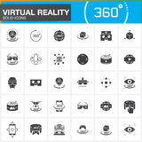 Virtual reality solid icons set. Innovation technologies, AR glasses, Head-mounted display, VR gaming device. Modern flat line des Royalty Free Stock Photo