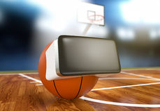Virtual reality and sports. Basket ball with vr glasses at the stadium, concept of virtual reality and sport 3d render Stock Photos