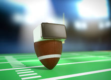 Virtual reality and sports. Football ball with vr glasses at the stadium, concept of virtual reality and sport 3d render Royalty Free Stock Photos