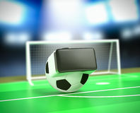 Virtual reality and sports. Soccer ball with vr glasses at the stadium, concept of virtual reality and sport 3d render Royalty Free Stock Photo