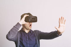 Virtual reality technology for games or exploration Stock Images