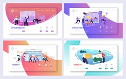 Virtual Reality Technology Landing Page Set. Augment Visual Game for Future Excited User Character. Fiction Cyberspace. Experience Website or Web Page. Flat vector illustration