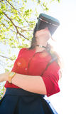 Virtual Reality testing in outdoors Stock Images