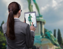 The virtual reality travel concept with woman and tablet Stock Photo