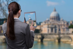 The virtual reality travel concept with woman and tablet Stock Images