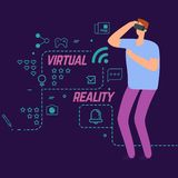 Virtual reality vector concept with line social icons and cartoon character boy royalty free illustration