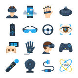 Virtual reality vector icon set in flat style. On a white background. Gadgets and accessories for additional, virtual reality or its simulations. Playing Stock Photography