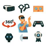 Virtual reality or VR gaming devices gadgets vector flat isolated icons set. Virtual Reality or 360 VR game device and gadget. Internet gamer boy in 3D cardboard Royalty Free Stock Photography
