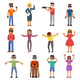 Virtual reality VR glass headset people playing enjoy 3d goggles device characters simulation futuristic video game Stock Image