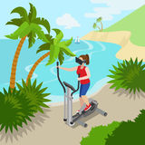 Virtual Reality VR Glass Sports Exercise on sea oc Royalty Free Stock Photo