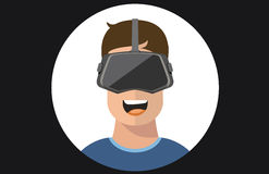 Virtual reality VR glasses man flat icons Stock Photography