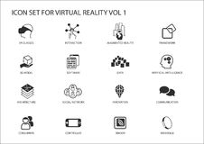 Virtual Reality (VR) icon set. Multiple symbols in flat design. Like virtual reality glasses, augmented reality, sensor, interaction, 3d model