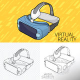 Virtual reality VR. Vector drawing of VR Virtual 3d reality goggles Royalty Free Stock Photos