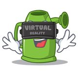With virtual reality watering can character cartoon. Vector illustration Stock Photography