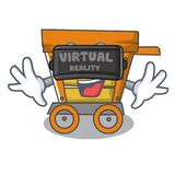 Virtual reality wooden trolley mascot cartoon. Vector illustration stock illustration