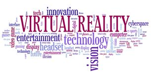 Virtual reality word cloud stock illustration