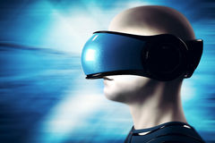 Into virtual reality world. Man wearing goggle headset. Future technology. 3D rendering Royalty Free Stock Photography