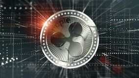 Virtual Ripple crypto-currency background Stock Photos
