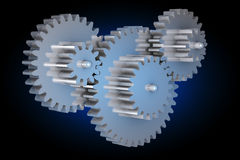 Virtual rotating gears Royalty Free Stock Photo