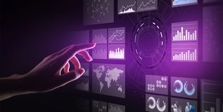 Virtual screen business intelligence dashboard, analytics and big data technology concept. Virtual screen business intelligence dashboard, analytics and big royalty free stock image